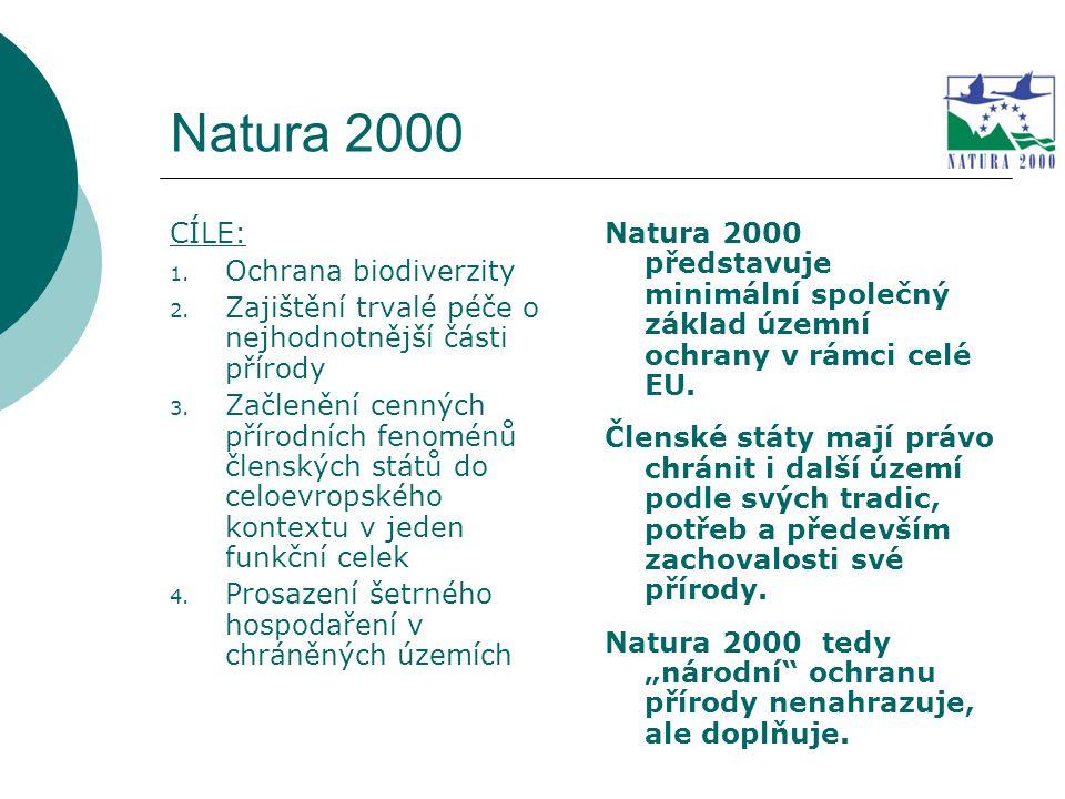 Natura 2000 CÍLE: 1. Ochrana biodiverzity 2. Zajištění trvalé péče o nejhodnotnější části přírody 3. Začlenění cenných přírodních fenoménů členských s
