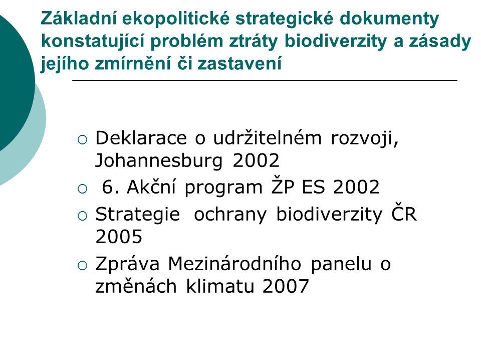 Základní ekopolitické strategické dokumenty konstatující problém ztráty biodiverzity a zásady jejího zmírnění či zastavení  Deklarace o udržitelném r