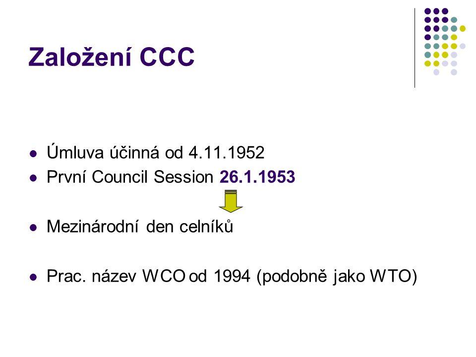 Založení CCC Úmluva účinná od 4.11.1952 První Council Session 26.1.1953 Mezinárodní den celníků Prac. název WCO od 1994 (podobně jako WTO)