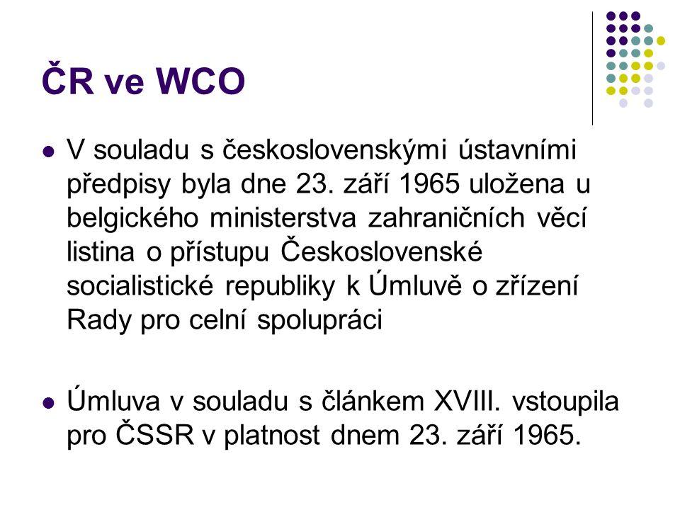 ČR ve WCO V souladu s československými ústavními předpisy byla dne 23. září 1965 uložena u belgického ministerstva zahraničních věcí listina o přístup