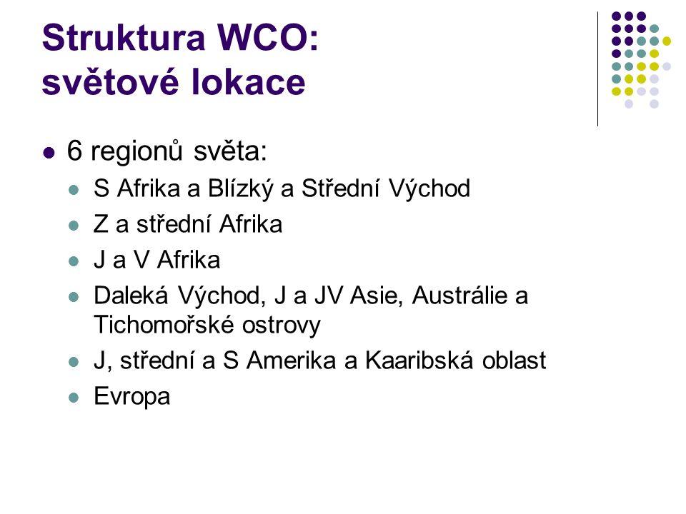 Struktura WCO: světové lokace 6 regionů světa: S Afrika a Blízký a Střední Východ Z a střední Afrika J a V Afrika Daleká Východ, J a JV Asie, Austráli