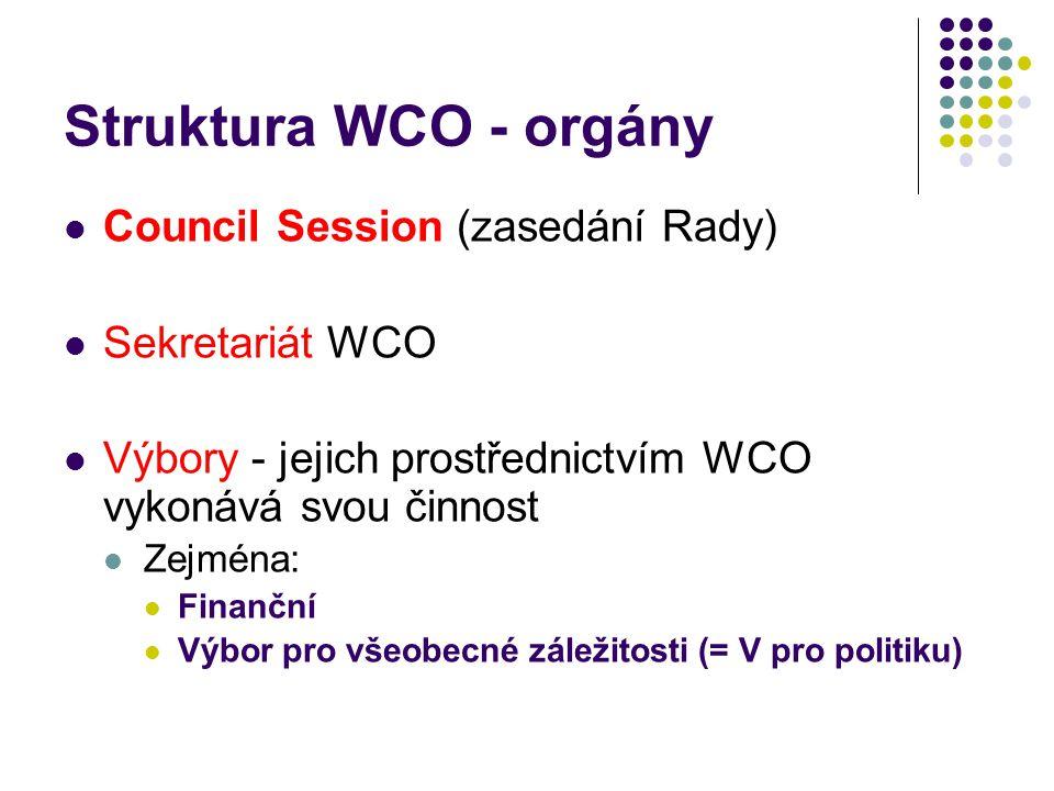 Struktura WCO - orgány Council Session (zasedání Rady) Sekretariát WCO Výbory - jejich prostřednictvím WCO vykonává svou činnost Zejména: Finanční Výb