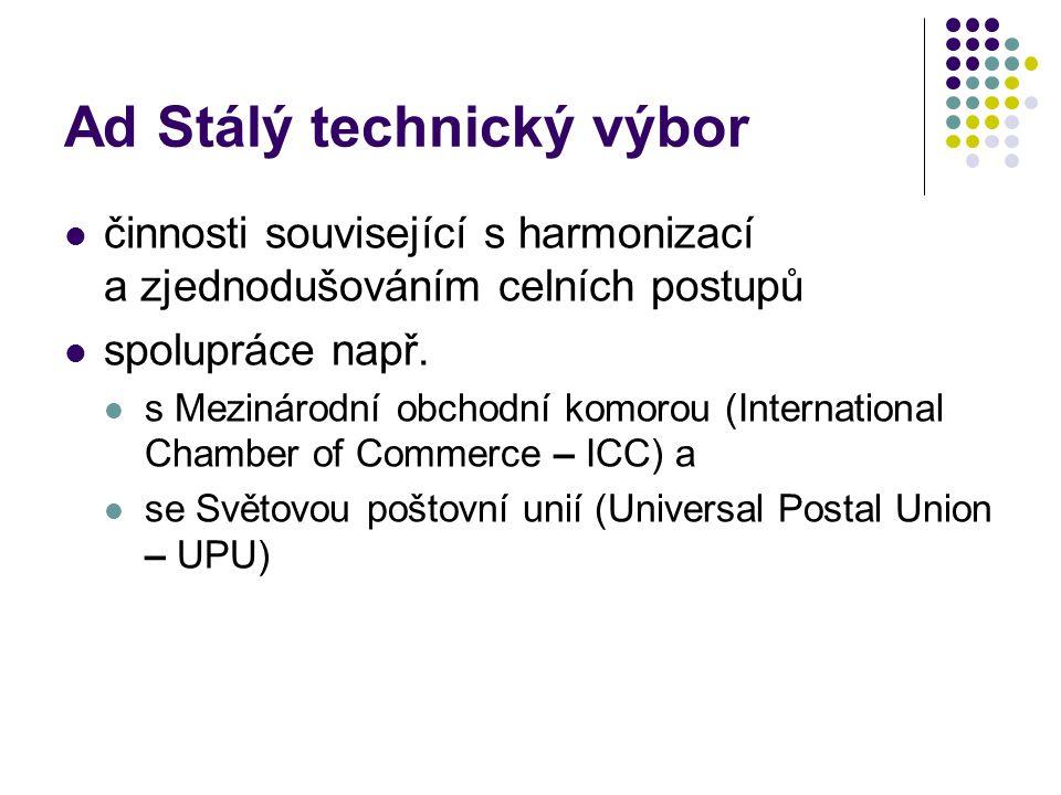 Ad Stálý technický výbor činnosti související s harmonizací a zjednodušováním celních postupů spolupráce např. s Mezinárodní obchodní komorou (Interna