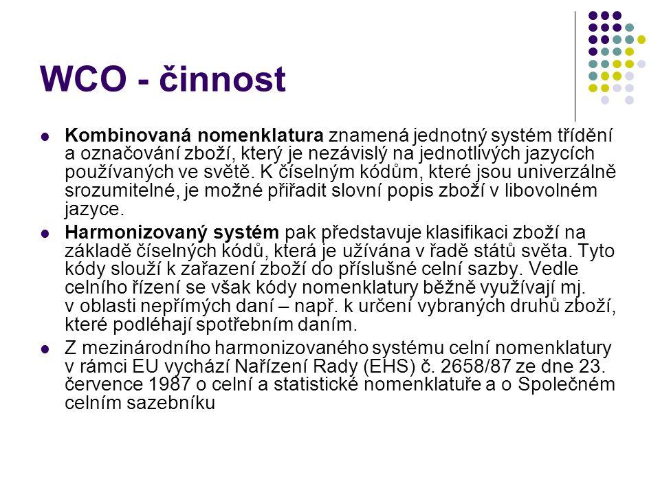 WCO - činnost Kombinovaná nomenklatura znamená jednotný systém třídění a označování zboží, který je nezávislý na jednotlivých jazycích používaných v