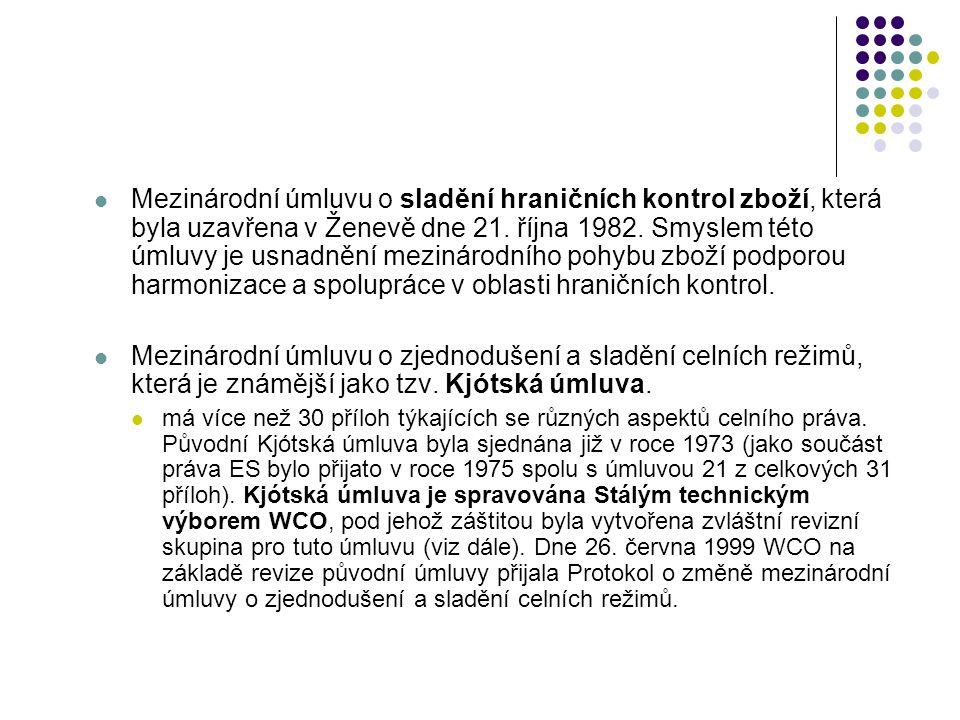 Mezinárodní úmluvu o sladění hraničních kontrol zboží, která byla uzavřena v Ženevě dne 21. října 1982. Smyslem této úmluvy je usnadnění mezinárodního