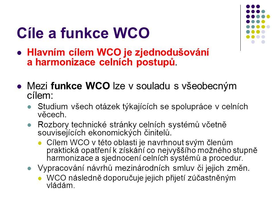 Cíle a funkce WCO Hlavním cílem WCO je zjednodušování a harmonizace celních postupů. Mezi funkce WCO lze v souladu s všeobecným cílem: Studium všech o