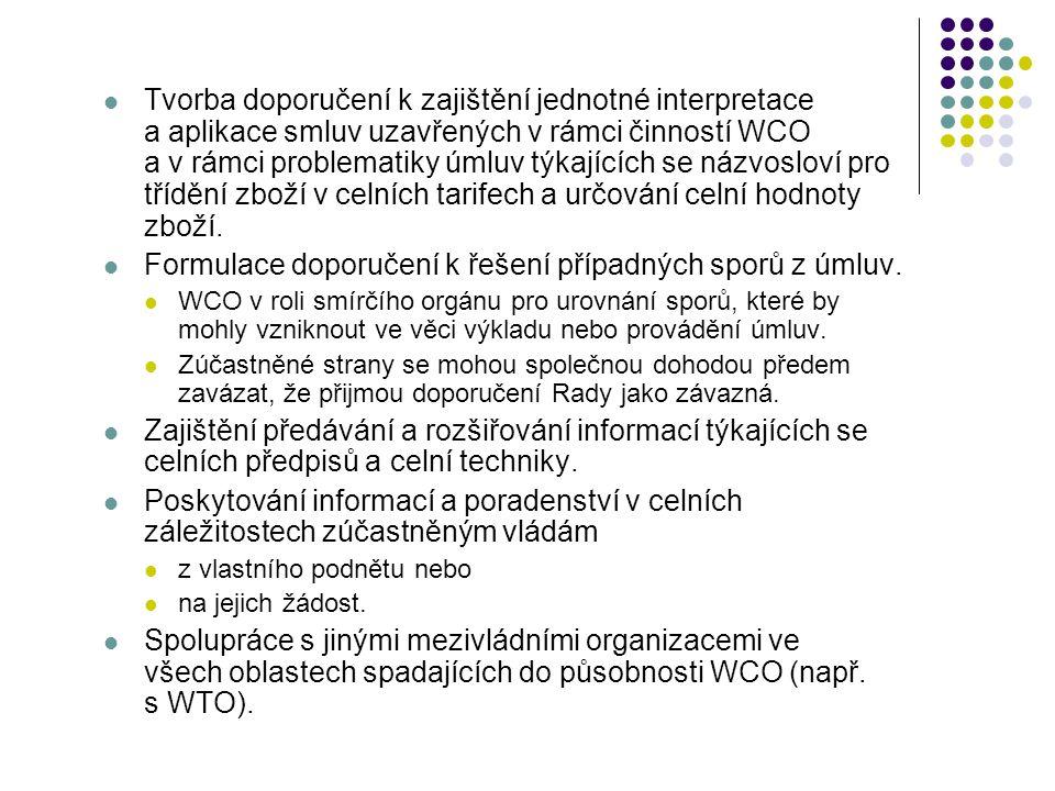 Tvorba doporučení k zajištění jednotné interpretace a aplikace smluv uzavřených v rámci činností WCO a v rámci problematiky úmluv týkajících se názvos
