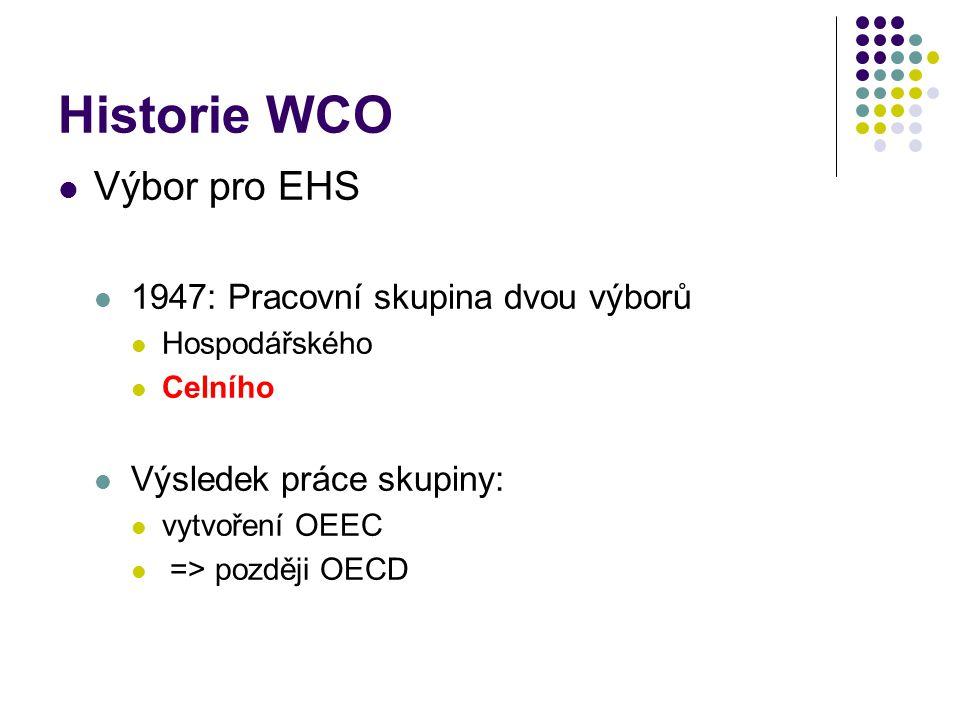 Historie WCO Výbor pro EHS 1947: Pracovní skupina dvou výborů Hospodářského Celního Výsledek práce skupiny: vytvoření OEEC => později OECD