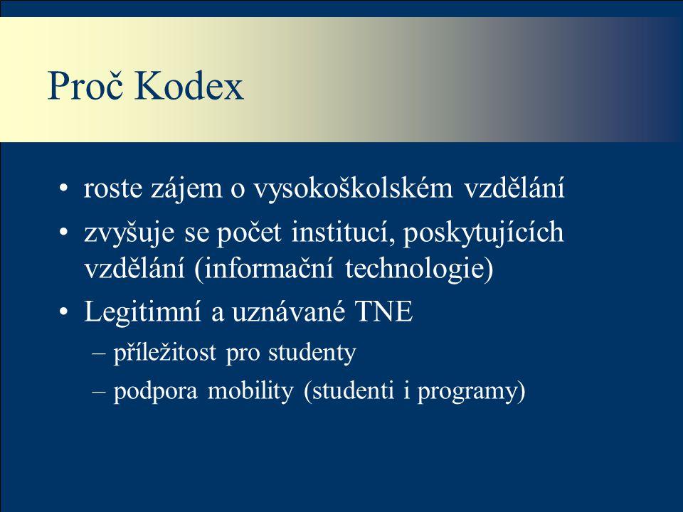 Proč Kodex roste zájem o vysokoškolském vzdělání zvyšuje se počet institucí, poskytujících vzdělání (informační technologie) Legitimní a uznávané TNE –příležitost pro studenty –podpora mobility (studenti i programy)