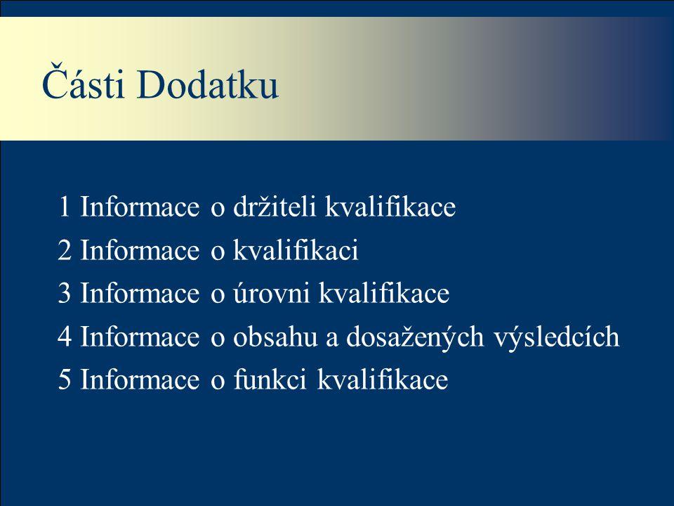 Části Dodatku 1 Informace o držiteli kvalifikace 2 Informace o kvalifikaci 3 Informace o úrovni kvalifikace 4 Informace o obsahu a dosažených výsledcích 5 Informace o funkci kvalifikace