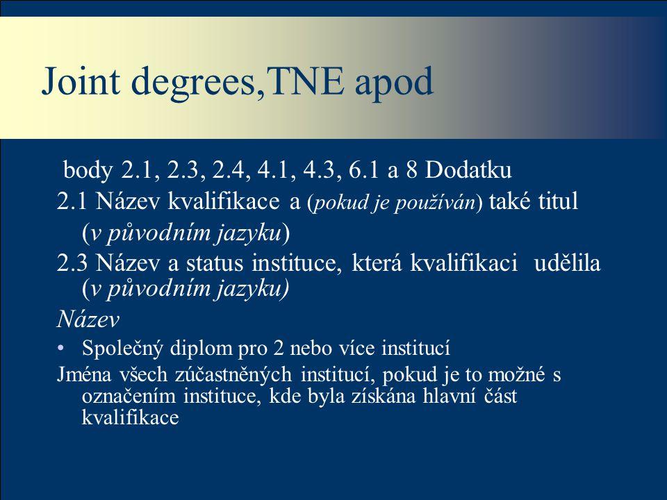 Joint degrees,TNE apod body 2.1, 2.3, 2.4, 4.1, 4.3, 6.1 a 8 Dodatku 2.1 Název kvalifikace a (pokud je používán) také titul (v původním jazyku) 2.3 Název a status instituce, která kvalifikaci udělila (v původním jazyku) Název Společný diplom pro 2 nebo více institucí Jména všech zúčastněných institucí, pokud je to možné s označením instituce, kde byla získána hlavní část kvalifikace