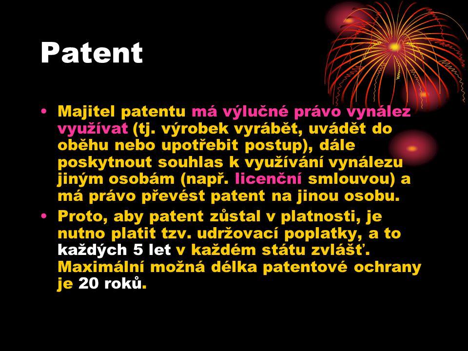 Patent Majitel patentu má výlučné právo vynález využívat (tj.