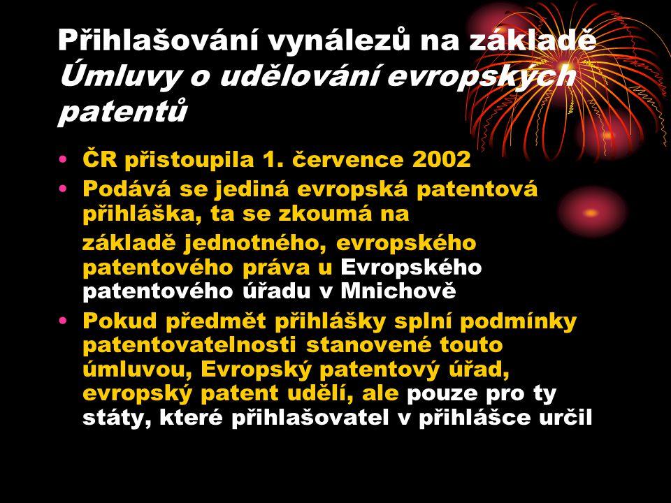 Přihlašování vynálezů na základě Úmluvy o udělování evropských patentů ČR přistoupila 1.