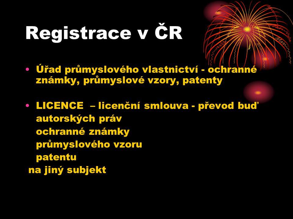 Registrace v ČR Úřad průmyslového vlastnictví - ochranné známky, průmyslové vzory, patenty LICENCE – licenční smlouva - převod buď autorských práv ochranné známky průmyslového vzoru patentu na jiný subjekt