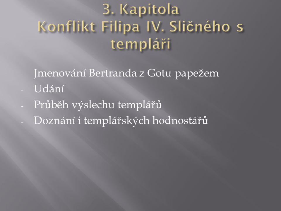 - Jmenování Bertranda z Gotu papežem - Udání - Průběh výslechu templářů - Doznání i templářských hodnostářů