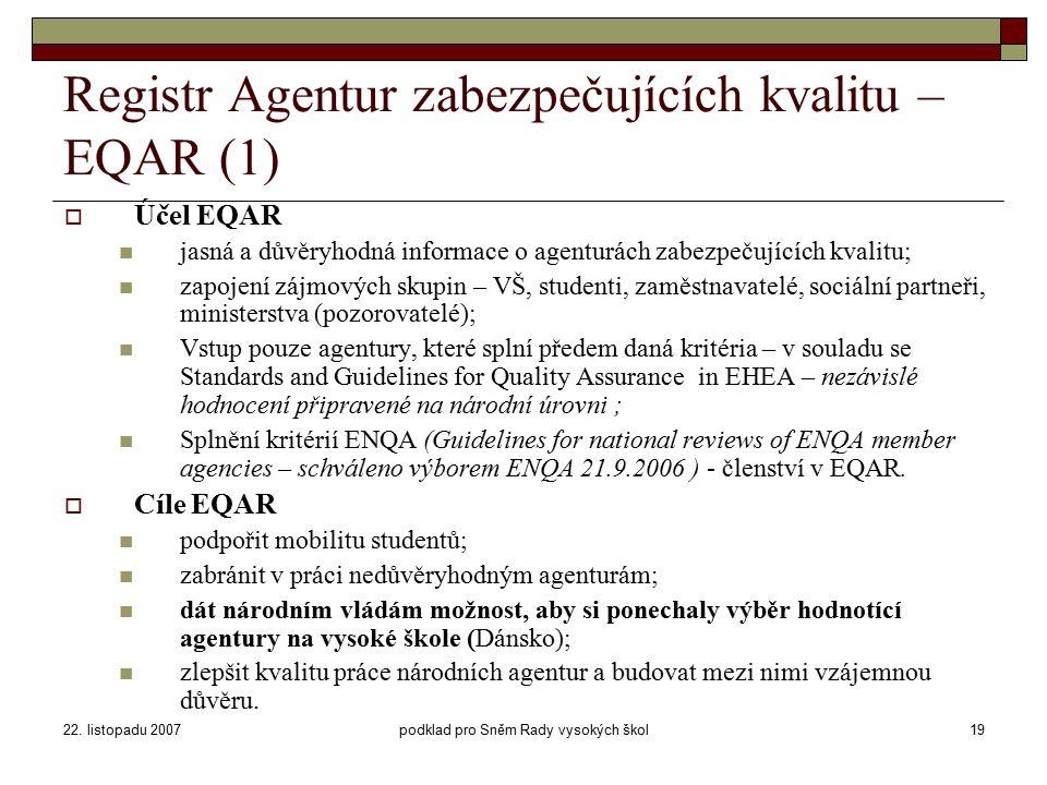 22. listopadu 2007podklad pro Sněm Rady vysokých škol19 Registr Agentur zabezpečujících kvalitu – EQAR (1)  Účel EQAR jasná a důvěryhodná informace o