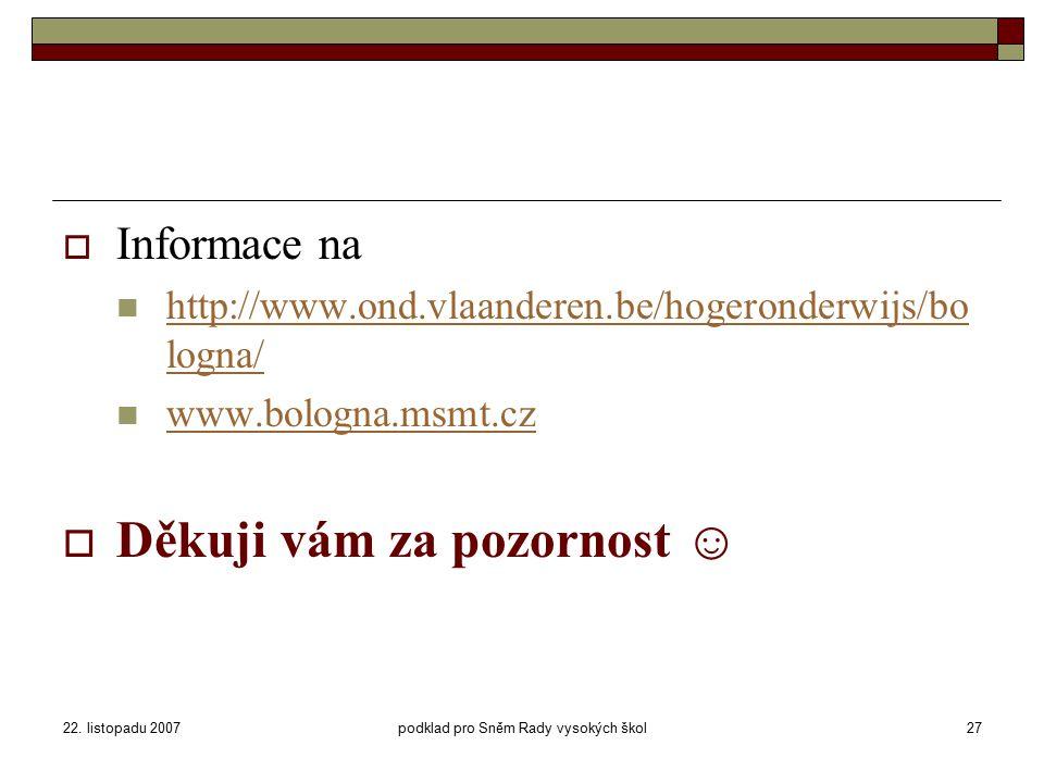 22. listopadu 2007podklad pro Sněm Rady vysokých škol27  Informace na http://www.ond.vlaanderen.be/hogeronderwijs/bo logna/ http://www.ond.vlaanderen