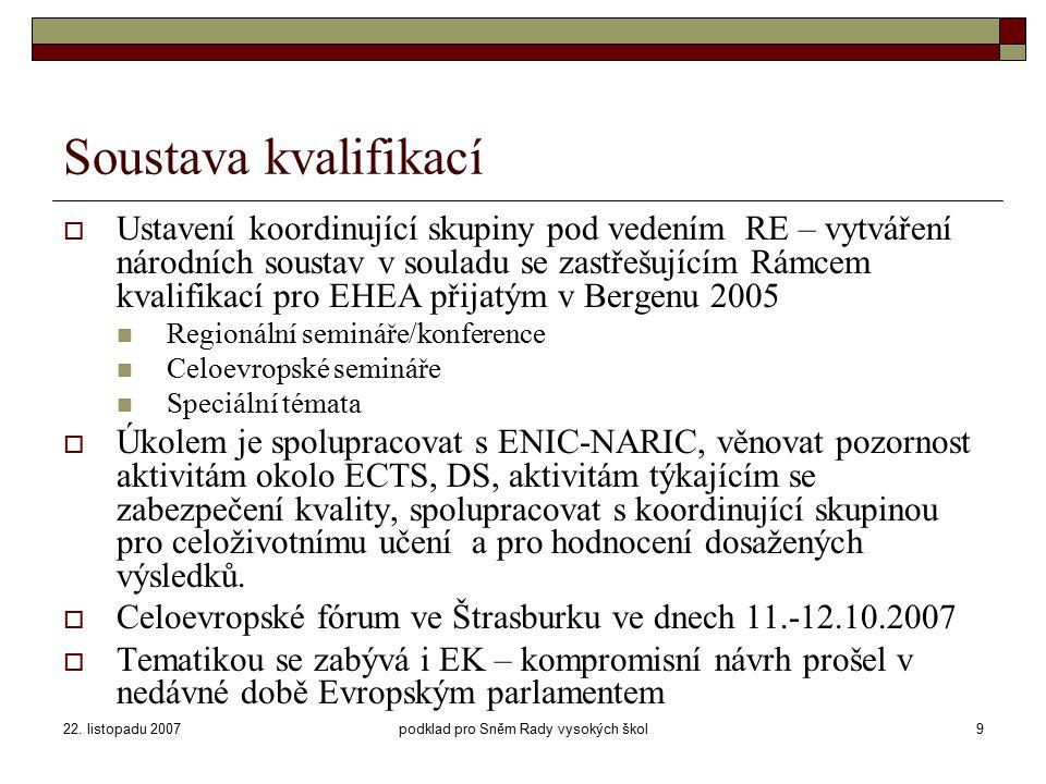 22. listopadu 2007podklad pro Sněm Rady vysokých škol9 Soustava kvalifikací  Ustavení koordinující skupiny pod vedením RE – vytváření národních soust