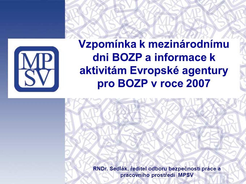 Vzpomínka k mezinárodnímu dni BOZP a informace k aktivitám Evropské agentury pro BOZP v roce 2007 RNDr.