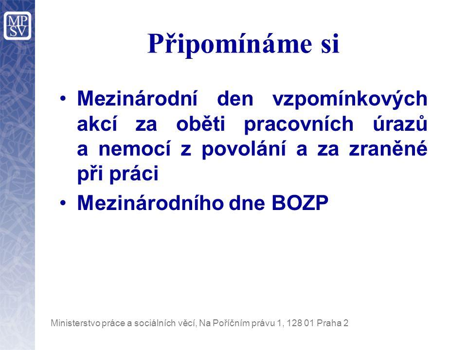Ministerstvo práce a sociálních věcí, Na Poříčním právu 1, 128 01 Praha 2 Připomínáme si Mezinárodní den vzpomínkových akcí za oběti pracovních úrazů a nemocí z povolání a za zraněné při práci Mezinárodního dne BOZP