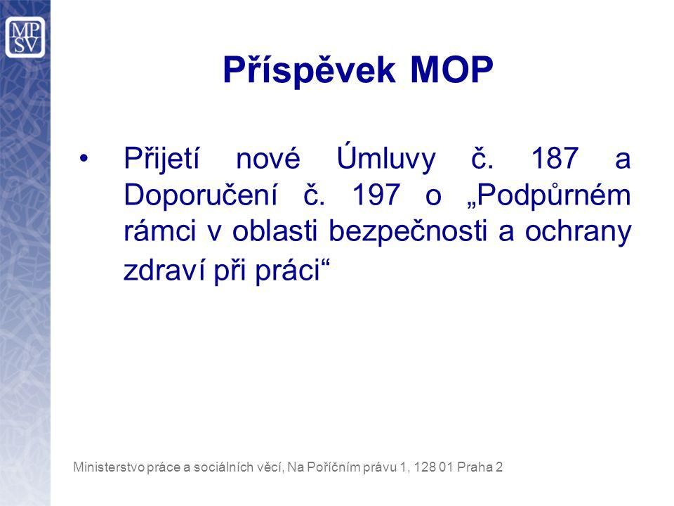 Ministerstvo práce a sociálních věcí, Na Poříčním právu 1, 128 01 Praha 2 Kampaně Evropské agentury BOZP Evropský týden BOZP 2007, jejíž tématem je jsou muskuloskeletární poruchy (MSD) a Iniciativa pro zdravé pracoviště v roce 2007