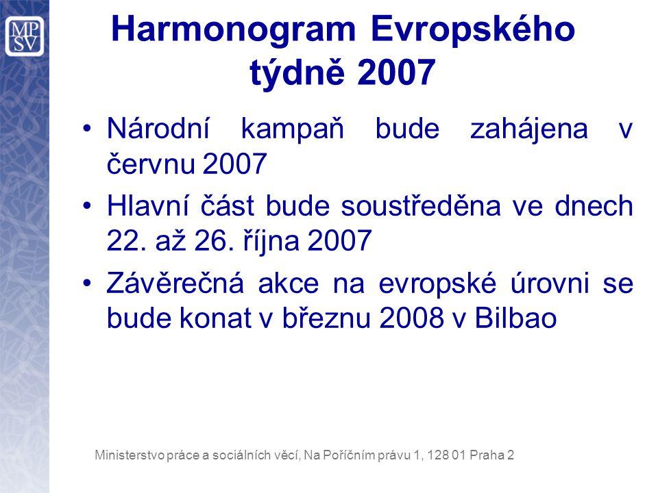 Ministerstvo práce a sociálních věcí, Na Poříčním právu 1, 128 01 Praha 2 Harmonogram Evropského týdně 2007 Národní kampaň bude zahájena v červnu 2007 Hlavní část bude soustředěna ve dnech 22.