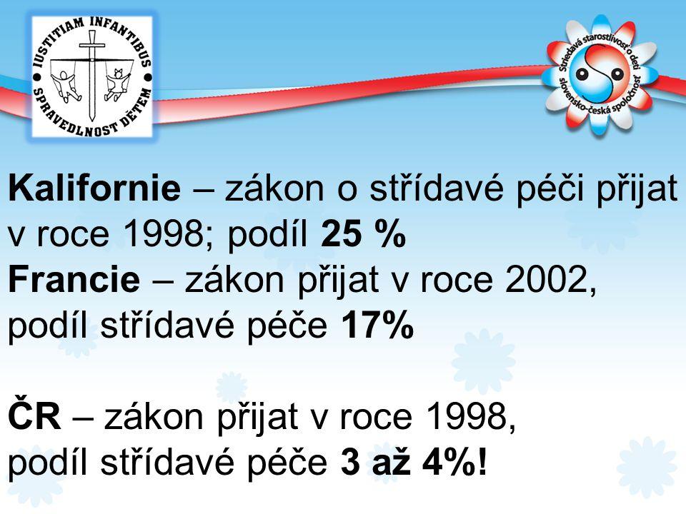 Kalifornie – zákon o střídavé péči přijat v roce 1998; podíl 25 % Francie – zákon přijat v roce 2002, podíl střídavé péče 17% ČR – zákon přijat v roce