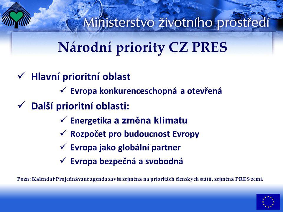 Národní priority CZ PRES Hlavní prioritní oblast Evropa konkurenceschopná a otevřená Další prioritní oblasti: Energetika a změna klimatu Rozpočet pro budoucnost Evropy Evropa jako globální partner Evropa bezpečná a svobodná Pozn: Kalendář Projednávané agenda závisí zejména na prioritách členských států, zejména PRES zemí.