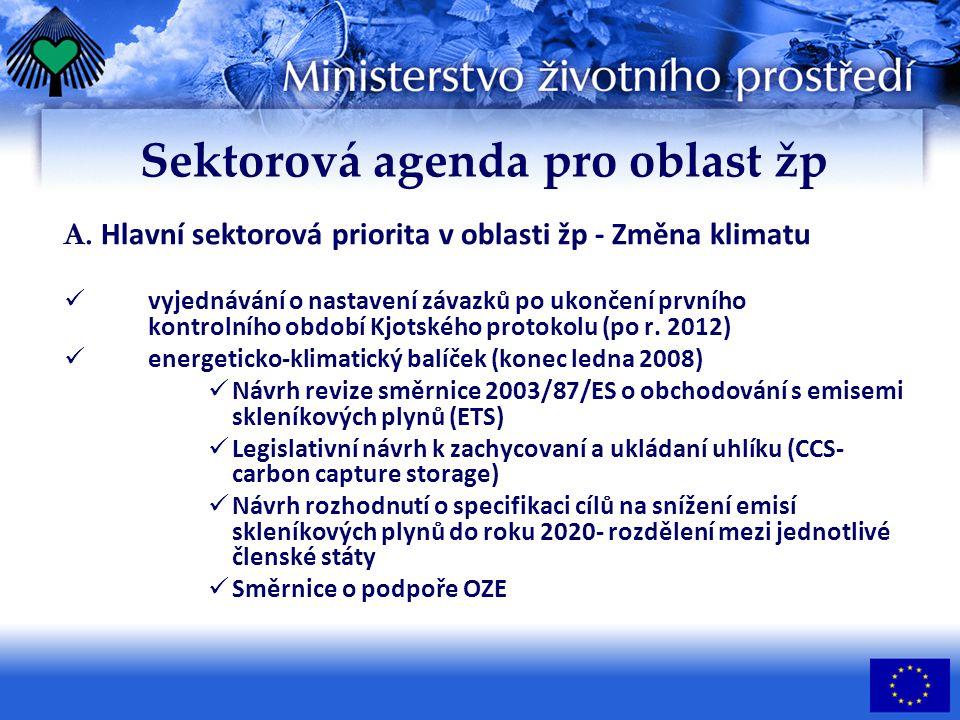 A. Hlavní sektorová priorita v oblasti žp - Změna klimatu vyjednávání o nastavení závazků po ukončení prvního kontrolního období Kjotského protokolu (