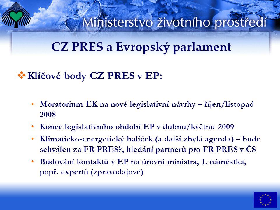 CZ PRES a Evropský parlament  Klíčové body CZ PRES v EP: Moratorium EK na nové legislativní návrhy – říjen/listopad 2008 Konec legislativního období EP v dubnu/květnu 2009 Klimaticko-energetický balíček (a další zbylá agenda) – bude schválen za FR PRES , hledání partnerů pro FR PRES v ČS Budování kontaktů v EP na úrovni ministra, 1.