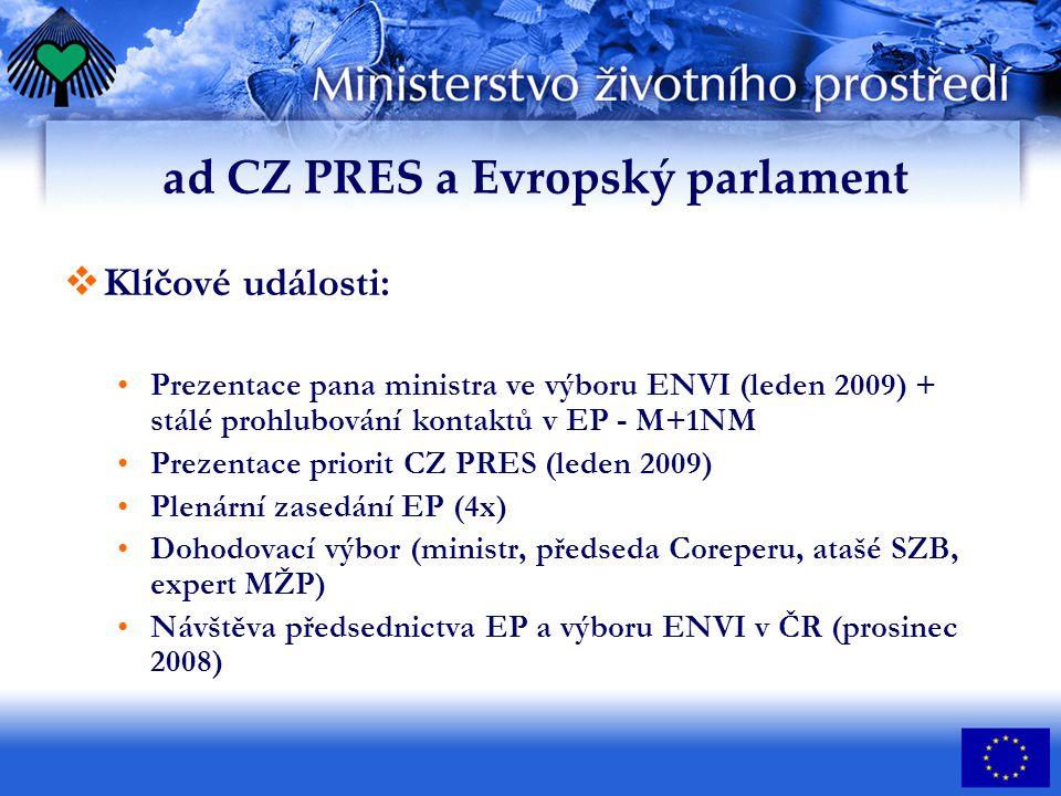 ad CZ PRES a Evropský parlament  Klíčové události: Prezentace pana ministra ve výboru ENVI (leden 2009) + stálé prohlubování kontaktů v EP - M+1NM Prezentace priorit CZ PRES (leden 2009) Plenární zasedání EP (4x) Dohodovací výbor (ministr, předseda Coreperu, atašé SZB, expert MŽP) Návštěva předsednictva EP a výboru ENVI v ČR (prosinec 2008)