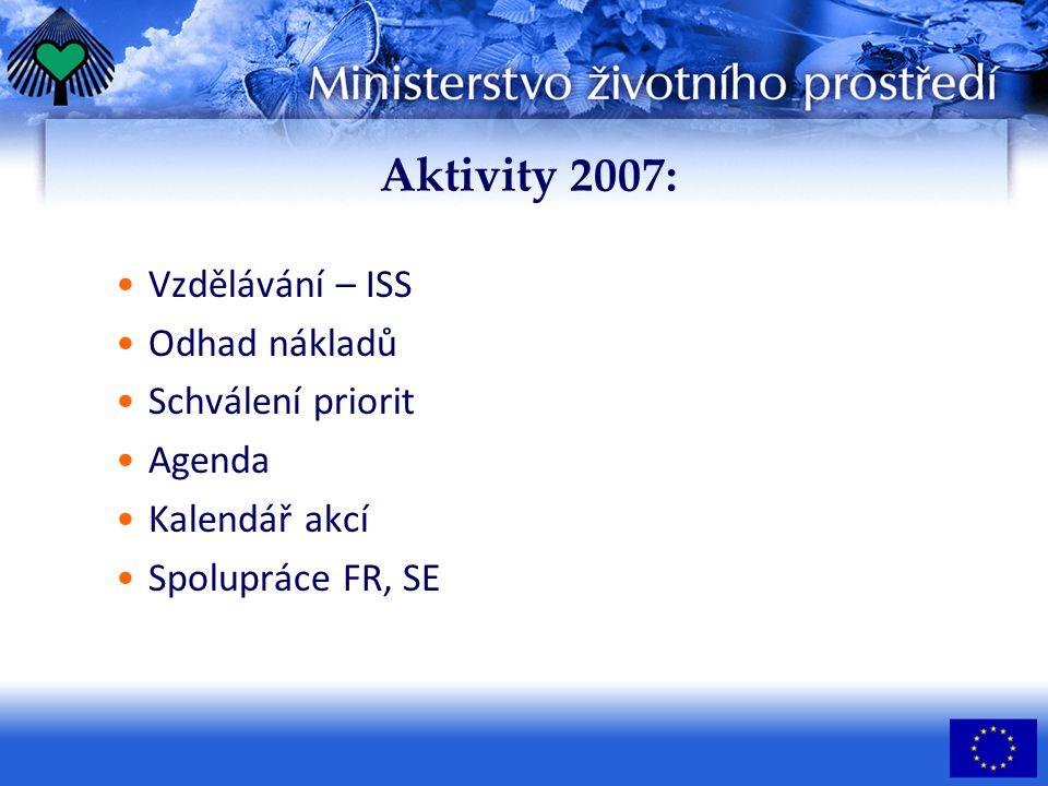 Aktivity 2007: Vzdělávání – ISS Odhad nákladů Schválení priorit Agenda Kalendář akcí Spolupráce FR, SE
