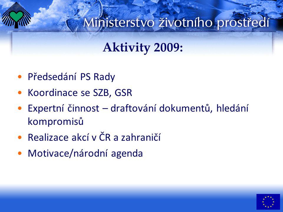 Aktivity 2009: Předsedání PS Rady Koordinace se SZB, GSR Expertní činnost – draftování dokumentů, hledání kompromisů Realizace akcí v ČR a zahraničí Motivace/národní agenda