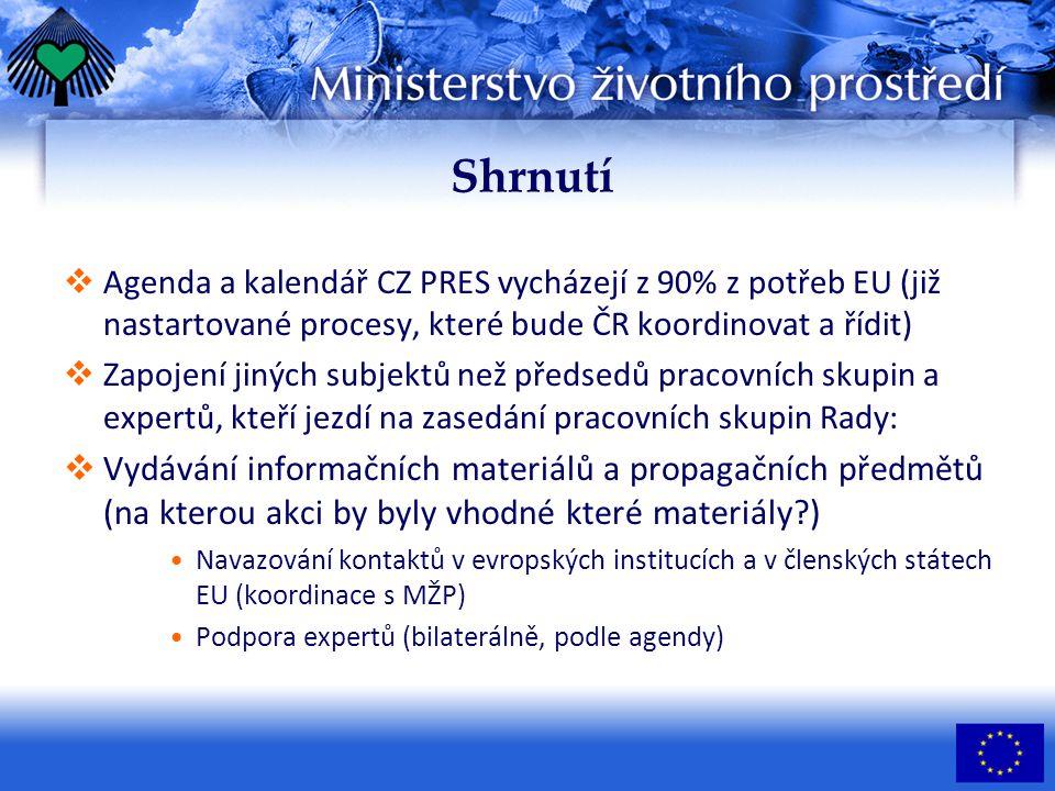 Shrnutí  Agenda a kalendář CZ PRES vycházejí z 90% z potřeb EU (již nastartované procesy, které bude ČR koordinovat a řídit)  Zapojení jiných subjektů než předsedů pracovních skupin a expertů, kteří jezdí na zasedání pracovních skupin Rady:  Vydávání informačních materiálů a propagačních předmětů (na kterou akci by byly vhodné které materiály ) Navazování kontaktů v evropských institucích a v členských státech EU (koordinace s MŽP) Podpora expertů (bilaterálně, podle agendy)