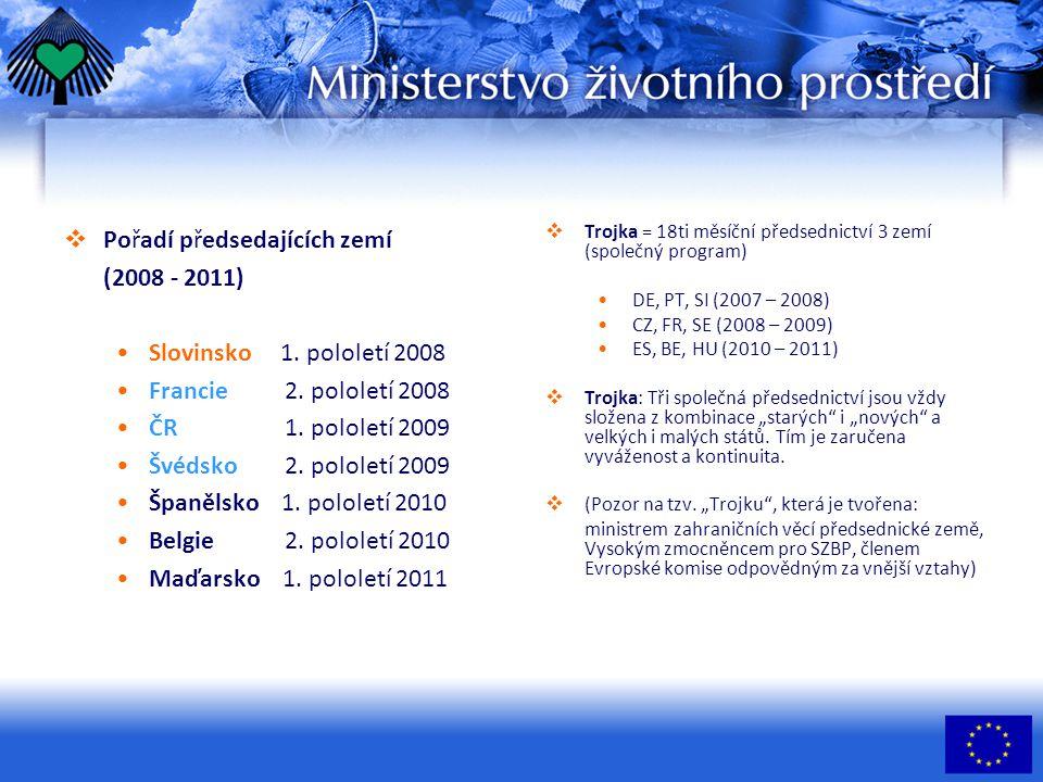  Pořadí předsedajících zemí (2008 - 2011) Slovinsko 1.