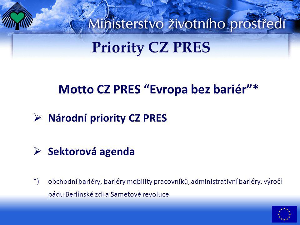 Priority CZ PRES Motto CZ PRES Evropa bez bariér *  Národní priority CZ PRES  Sektorová agenda *) obchodní bariéry, bariéry mobility pracovníků, administrativní bariéry, výročí pádu Berlínské zdi a Sametové revoluce