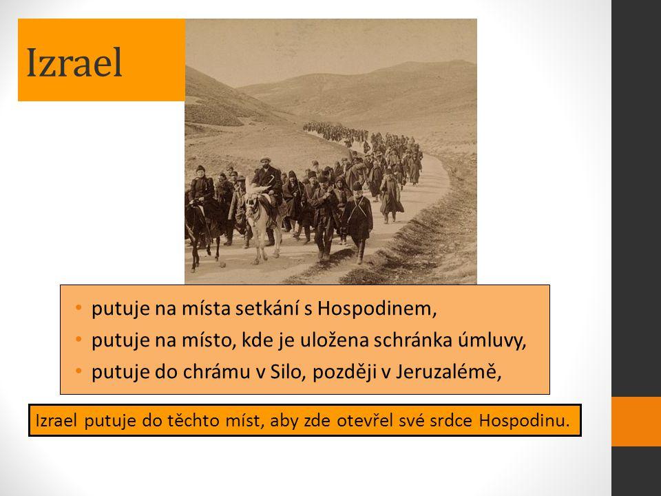 Izrael putuje na místa setkání s Hospodinem, putuje na místo, kde je uložena schránka úmluvy, putuje do chrámu v Silo, později v Jeruzalémě, Izrael pu