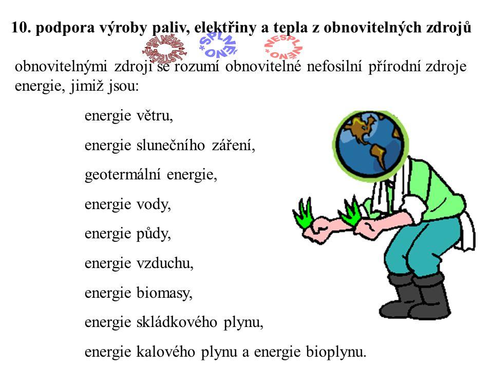 10. podpora výroby paliv, elektřiny a tepla z obnovitelných zdrojů obnovitelnými zdroji se rozumí obnovitelné nefosilní přírodní zdroje energie, jimiž