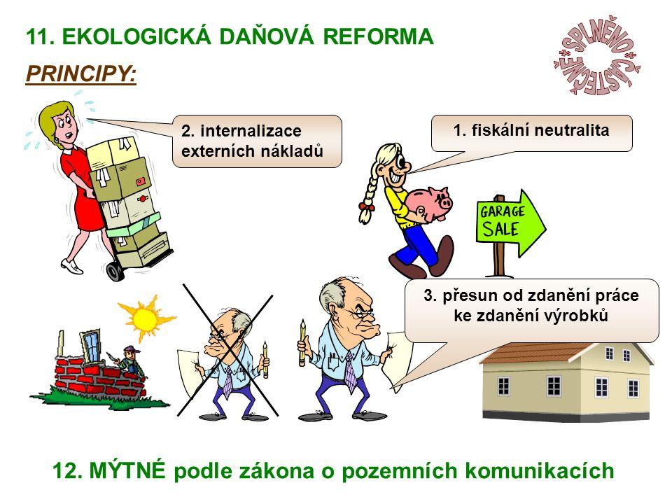 1. fiskální neutralita 2. internalizace externích nákladů 3.