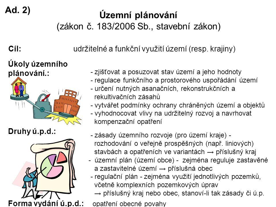 Ad. 2) Územní plánování (zákon č.