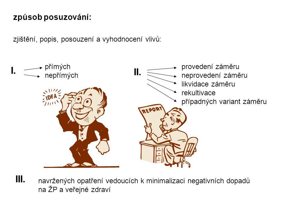 způsob posuzování: zjištění, popis, posouzení a vyhodnocení vlivů: I.