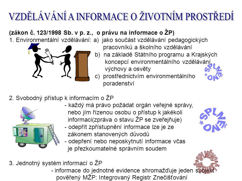 (zákon č. 123/1998 Sb. v p. z., o právu na informace o ŽP) 1.