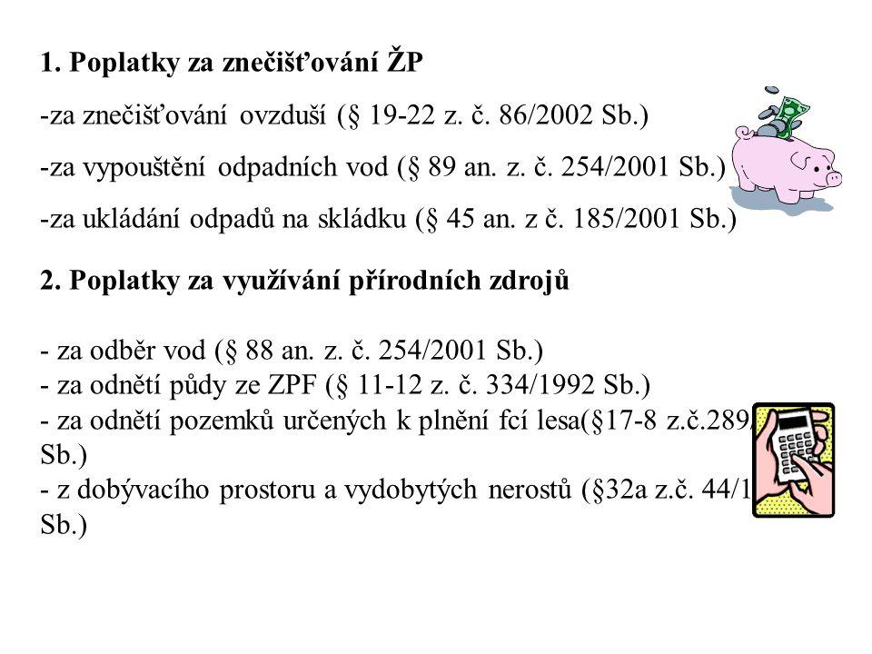 1. Poplatky za znečišťování ŽP -za znečišťování ovzduší (§ 19-22 z.