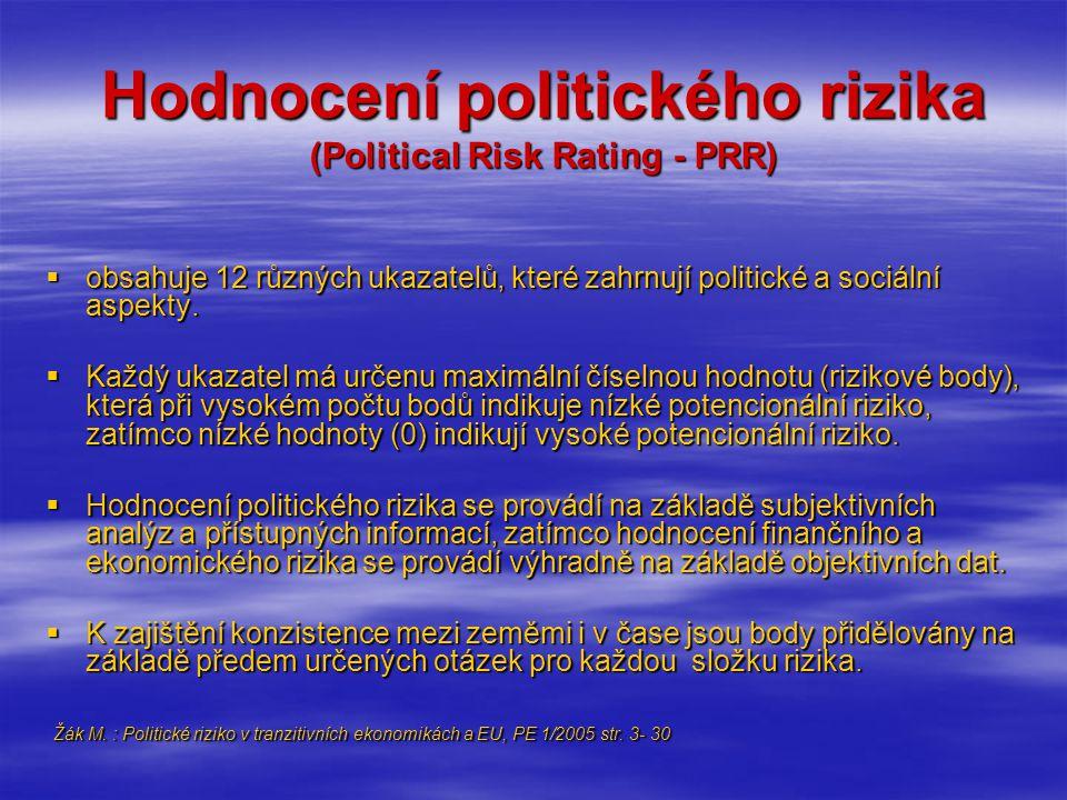 Hodnocení politického rizika (Political Risk Rating - PRR)  obsahuje 12 různých ukazatelů, které zahrnují politické a sociální aspekty.