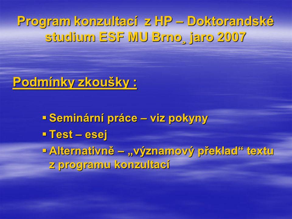 """Program konzultací z HP – Doktorandské studium ESF MU Brno¸ jaro 2007 Podmínky zkoušky :  Seminární práce – viz pokyny  Test – esej  Alternativně – """"významový překlad textu z programu konzultací"""