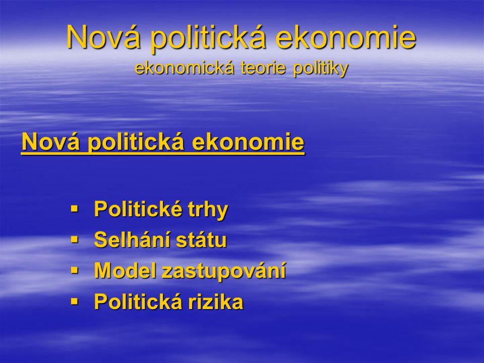 Nová politická ekonomie ekonomická teorie politiky Nová politická ekonomie  Politické trhy  Selhání státu  Model zastupování  Politická rizika