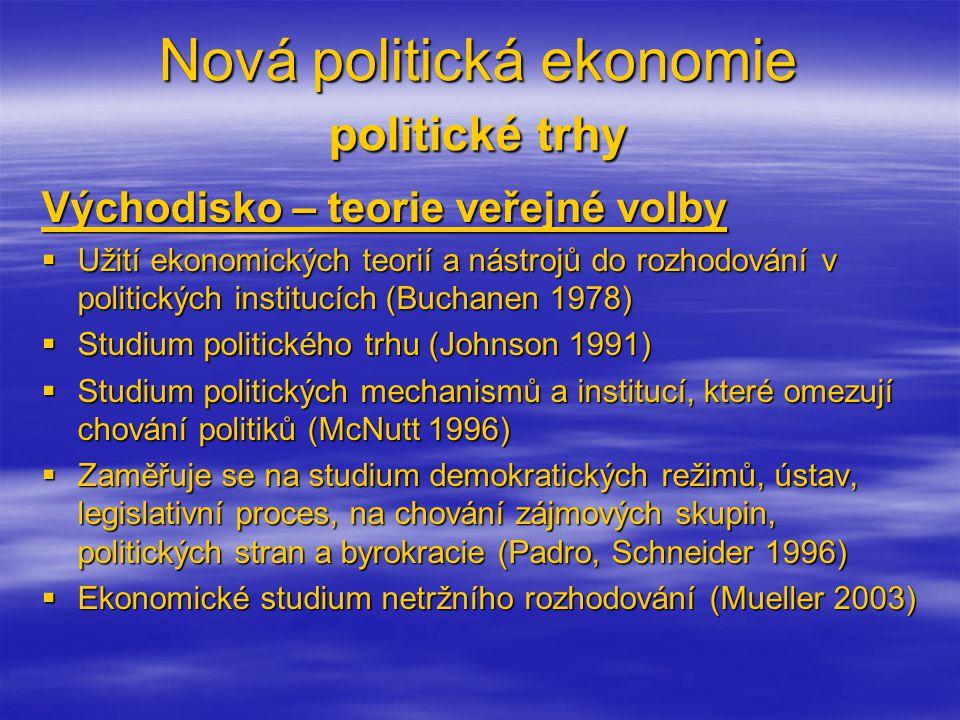 Nová politická ekonomie politické trhy Východisko – teorie veřejné volby  Užití ekonomických teorií a nástrojů do rozhodování v politických institucích (Buchanen 1978)  Studium politického trhu (Johnson 1991)  Studium politických mechanismů a institucí, které omezují chování politiků (McNutt 1996)  Zaměřuje se na studium demokratických režimů, ústav, legislativní proces, na chování zájmových skupin, politických stran a byrokracie (Padro, Schneider 1996)  Ekonomické studium netržního rozhodování (Mueller 2003)