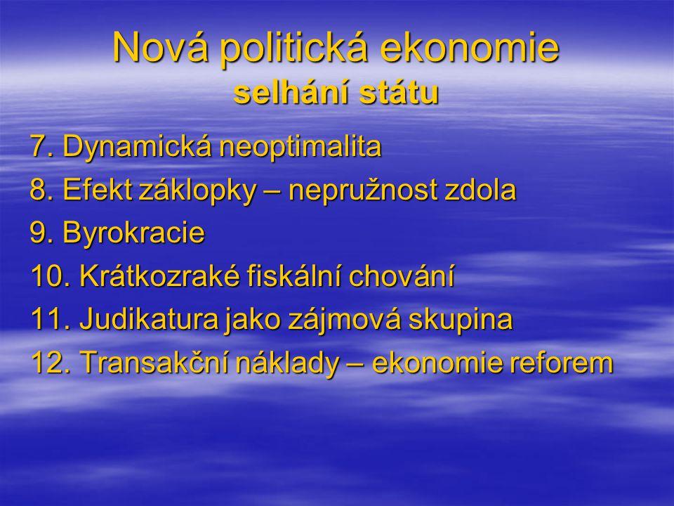 Nová politická ekonomie selhání státu 7. Dynamická neoptimalita 8.