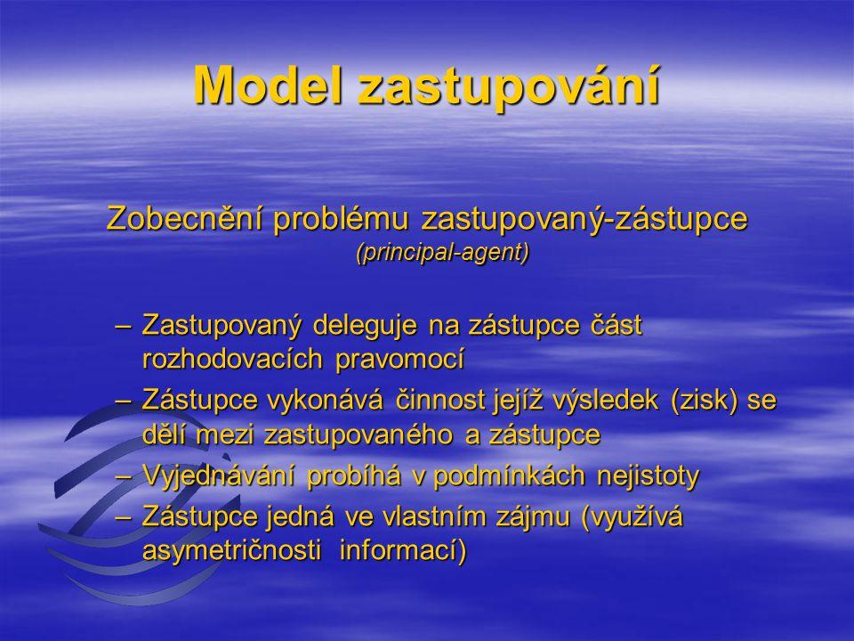 Model zastupování Zobecnění problému zastupovaný-zástupce (principal-agent) –Zastupovaný deleguje na zástupce část rozhodovacích pravomocí –Zástupce vykonává činnost jejíž výsledek (zisk) se dělí mezi zastupovaného a zástupce –Vyjednávání probíhá v podmínkách nejistoty –Zástupce jedná ve vlastním zájmu (využívá asymetričnosti informací)