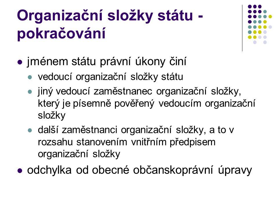 Organizační složky státu - pokračování jménem státu právní úkony činí vedoucí organizační složky státu jiný vedoucí zaměstnanec organizační složky, kt